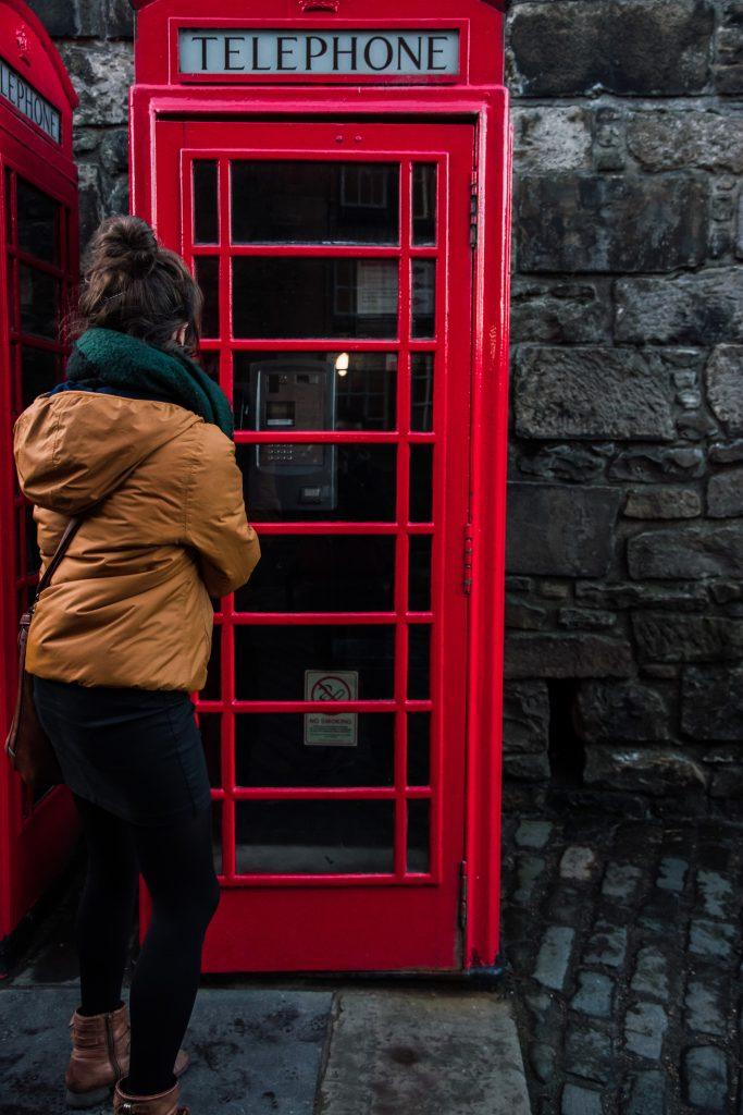 Rode telefooncel. UK.